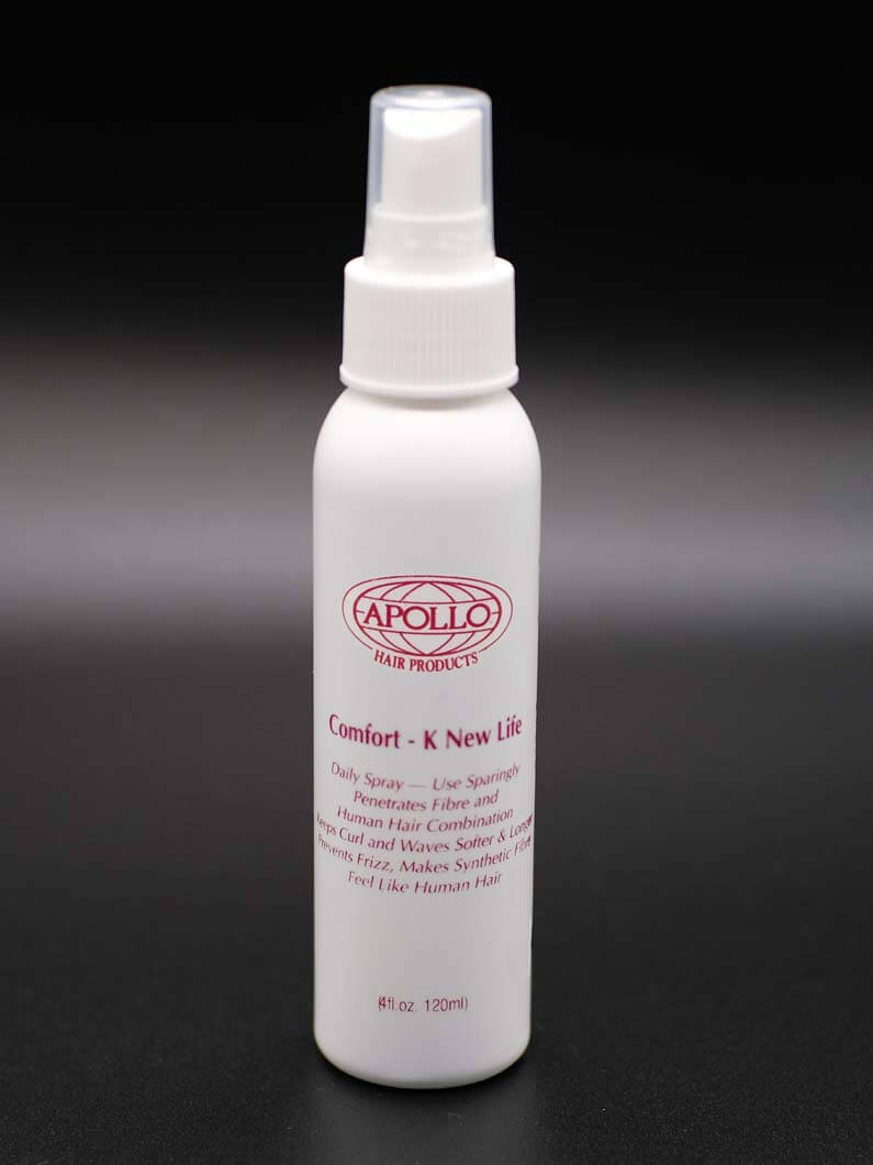 This conditioning spray is great for use on Human Hair Systems, Synthetic Hair Systems, and natural hair. I will help maintain curls and waves in hair allowing the hair to stay softer, and it will help keep hair from becoming frizzy. It will also soften synthetic hair giving it a more natural texture. Comes in 4 Oz. bottles.