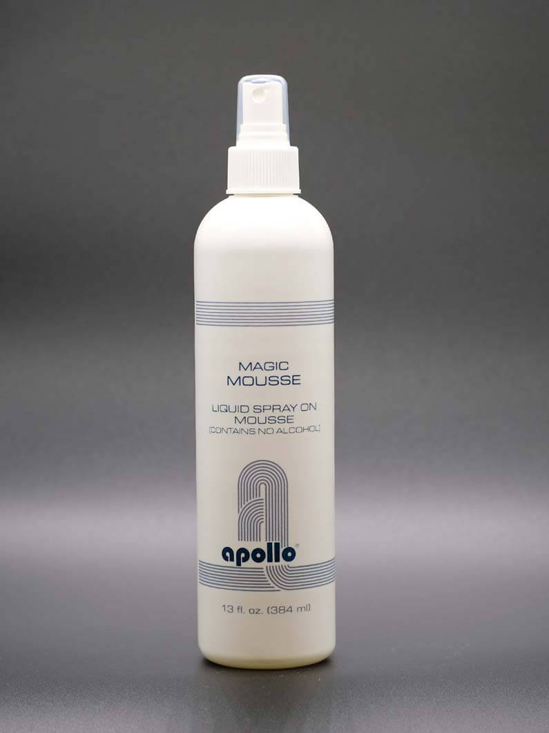 This is an alcohol free spray on mousse that is a firm holding formula. This mousse will help add body to your hair style while allowing hair to be manageable. This mousse helps to control static, it mends split ends, and it will help prevent damage from heat. Comes in 8 Oz. and 13 Oz. bottles.