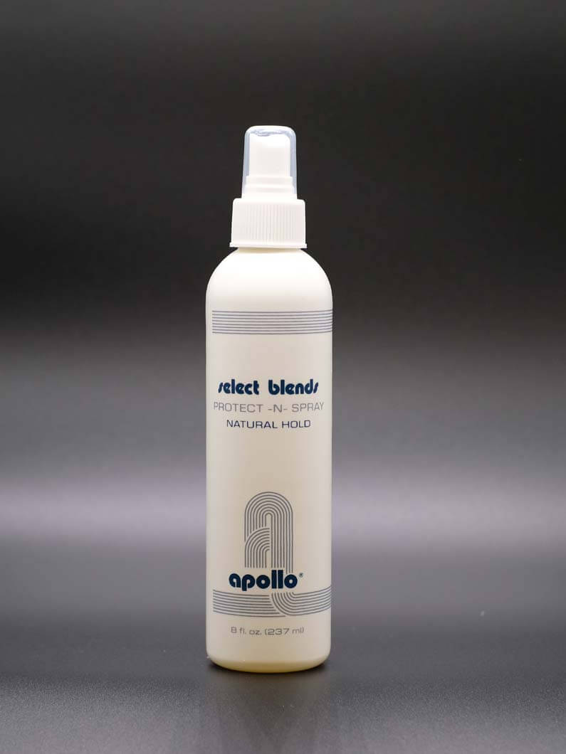 This is a hair spray that holds hair in place while looking natural. It is also formulate to help prevent colors fading in hair. Comes in 8 Oz. bottles.