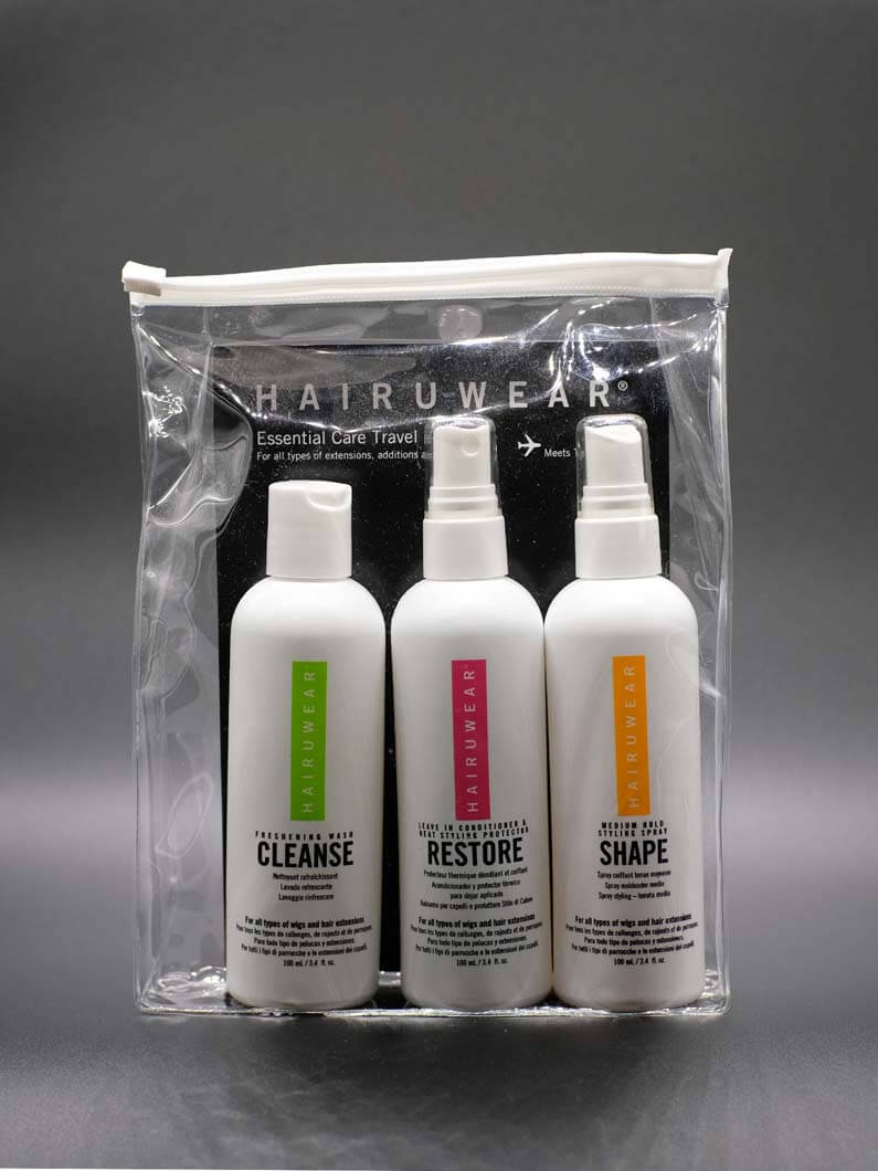 This wig care kit contains three products to help in daily maintenance of wigs and extensions. See details on each product below: Restore: This spray on leave in conditioner is also a heat styling protector. Shape: This is a medium hold styling spray.